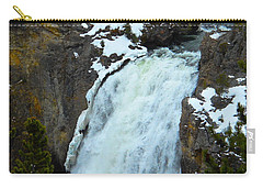 Carry-all Pouch featuring the photograph Yellowstone Upper Falls In Spring by Michele Myers