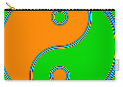Yin Yang Orange Green Pop Art Carry-all Pouch by Eti Reid