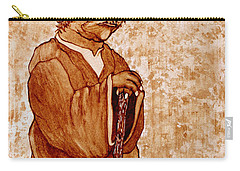 Carry-all Pouch featuring the painting Yoda Wisdom Original Coffee Painting by Georgeta Blanaru