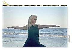 Yoga Woman On The Beach Carry-all Pouch