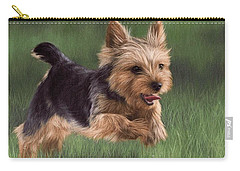 Yorkshire Terrier Painting Carry-all Pouch by Rachel Stribbling