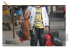 Young Boy Carrying A Dead Chicken To School Carry-all Pouch
