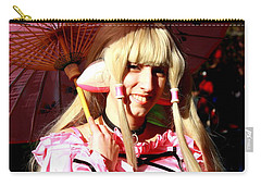 Carry-all Pouch featuring the photograph Young Girl At Cherry Blossom Festival by Dora Sofia Caputo Photographic Art and Design