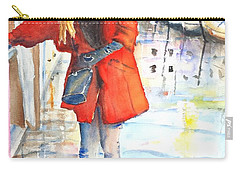 Young Woman Walking Along Venice Italy Canal Carry-all Pouch