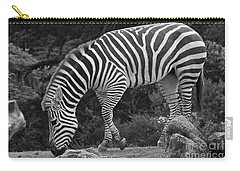 Carry-all Pouch featuring the photograph Zebra In Black And White by Kate Brown
