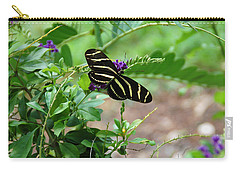 Zebra Longwing Butterfly Floral Carry-all Pouch