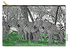 Carry-all Pouch featuring the photograph Zebras by Kathy Churchman