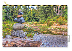 Carry-all Pouch featuring the photograph Zen Balanced Stones On A Tree by Eti Reid
