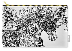 Carry-all Pouch featuring the drawing Zentangle Circus Horse by Jani Freimann