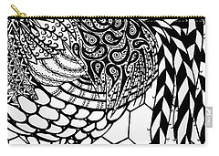 Carry-all Pouch featuring the drawing Zentangle Rooster by Jani Freimann