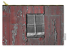 Zink Rd Barn Window Bw Red Carry-all Pouch