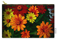 Carry-all Pouch featuring the photograph Zinnia Kaleidoscope Of Color by Nick Kloepping