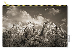 Carry-all Pouch featuring the photograph Zion Court Of The Patriarchs In Sepia by Tammy Wetzel