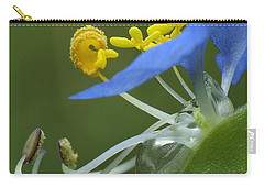 Close View Of Slender Dayflower Flower With Dew Carry-all Pouch