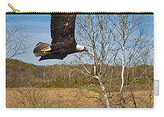 Carry-all Pouch featuring the photograph  Eagle Circleing Her Nest by Randall Branham