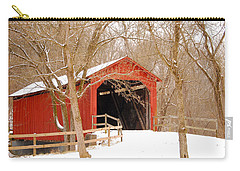 Carry-all Pouch featuring the photograph  Sandy Creek Cover Bridge  by Peggy Franz