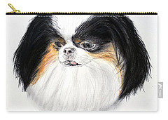 Carry-all Pouch featuring the drawing Japanese Chin Dog Portrait by Jim Fitzpatrick