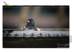 Junco In The Birdbath Carry-all Pouch by Carol Ailles