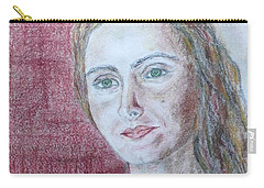 Carry-all Pouch featuring the drawing Self Portrait by Anna Ruzsan