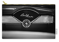 1955 Chevy Bel Air Glow Compartment In Black And White Carry-all Pouch