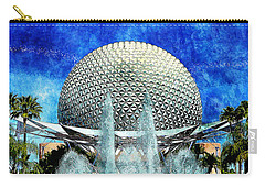 Carry-all Pouch featuring the digital art Spaceship Earth And Fountain Of Nations by Sandy MacGowan
