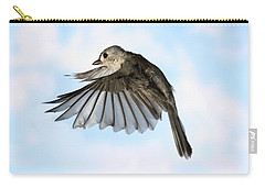 Tufted Titmouse In Flight Carry-all Pouch by Ted Kinsman