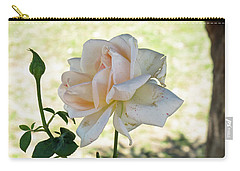 Carry-all Pouch featuring the photograph A Beautiful White And Light Pink Rose Along With A Bud by Ashish Agarwal