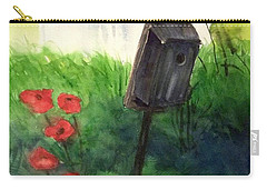 Carry-all Pouch featuring the painting A Bird House In The Geddes Farm --ann Arbor Michigan by Yoshiko Mishina