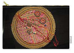 Carry-all Pouch featuring the photograph A Bowl Of Rakhis In A Decorated Dish by Ashish Agarwal