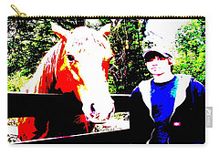 Carry-all Pouch featuring the photograph a Boy and his Horse by George Pedro