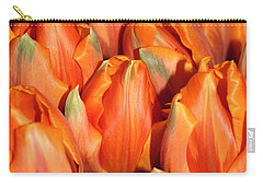 Carry-all Pouch featuring the digital art A Field Of Orange Tulips by Eva Kaufman