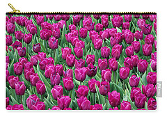 Carry-all Pouch featuring the photograph A Field Of Tulips by Eva Kaufman
