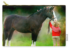 Carry-all Pouch featuring the photograph A Girl And Her Horse by Davandra Cribbie