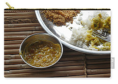 Carry-all Pouch featuring the photograph A Typical Plate Of Indian Rajasthani Food On A Bamboo Table by Ashish Agarwal