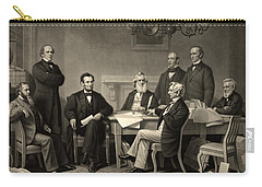 Carry-all Pouch featuring the photograph Abraham Lincoln At The First Reading Of The Emancipation Proclamation - July 22 1862 by International  Images