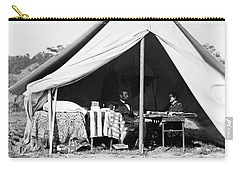 Carry-all Pouch featuring the photograph Abraham Lincoln Meeting With General Mcclellan - Antietam - October 3 1862 by International  Images