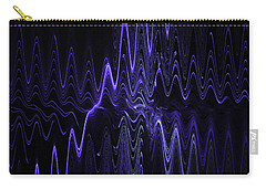 Abstract Digital Blue Waves Fractal Image Black Computer Art Carry-all Pouch by Keith Webber Jr