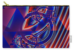 Carry-all Pouch featuring the digital art Abstract In Red And Blue by Mario Carini