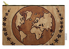 Abstract World Globe Map Coffee Painting Carry-all Pouch