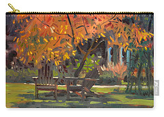 Carry-all Pouch featuring the painting Adirondack Chairs by Donald Maier