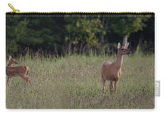 Alert Doe And Fawn Carry-all Pouch