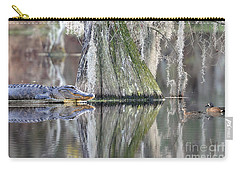 Carry-all Pouch featuring the photograph Alligator Waiting For Dinner by Dan Friend