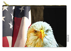 Carry-all Pouch featuring the photograph American Eagle And American Flag by Randall Branham