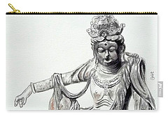 Carry-all Pouch featuring the painting An Oriental Statue At Toledo Art Museum - Ohio- 2 by Yoshiko Mishina