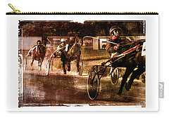 Carry-all Pouch featuring the photograph and the winner is - A vintage processed Menorca trotting race by Pedro Cardona