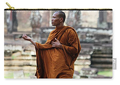 Carry-all Pouch featuring the photograph Angkor Wat Monk by Nola Lee Kelsey
