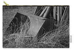 Carry-all Pouch featuring the photograph Antique Tractor Bucket In Black And White by Jennifer Ancker