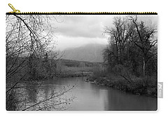 Carry-all Pouch featuring the photograph At The River Turn Bw by Kathleen Grace