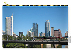 Austin Texas 2012 Skyline And Water Reflections Carry-all Pouch by Connie Fox