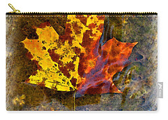 Carry-all Pouch featuring the digital art Autumn Maple Leaf In Water by Debbie Portwood